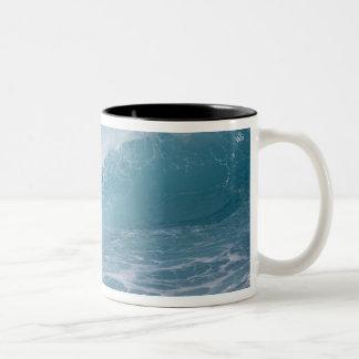 Blue wave crashing, Maui, Hawaii, USA 2 Two-Tone Coffee Mug