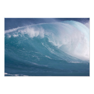 Blue wave crashing, Maui, Hawaii, USA 3 Photo Print