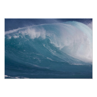 Blue wave crashing, Maui, Hawaii, USA Poster