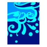 Blue wave modern designs postcard