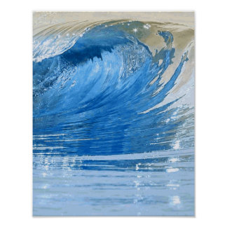 Blue Wave Nature Digital Art Poster