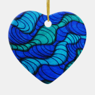 Blue waves graphic ceramic heart decoration