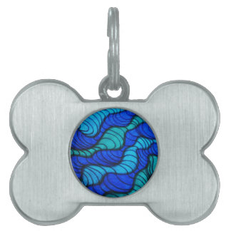 Blue waves graphic pet tag