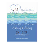 Blue Waves Loopy Heart Save The Date Postcard