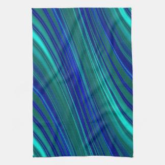 Blue wavy stripe pattern tea towel