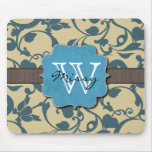 Blue Weathered Monogrammed Mouse Mats
