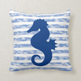 Blue Weathered Nautical Stripes With Seahorse Cushion