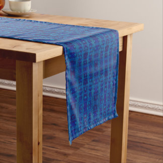 Blue weave, abstract geometric pattern, hand drawn short table runner