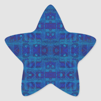 Blue weave, abstract geometric pattern, hand drawn star sticker
