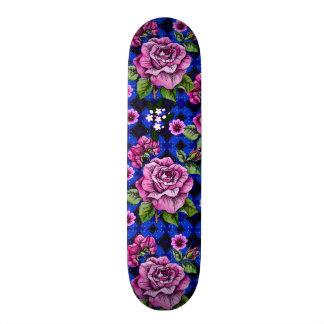 Blue Weaving Pink Roses Skate Boards