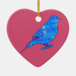 Blue Web Bird Ceramic Heart Decoration