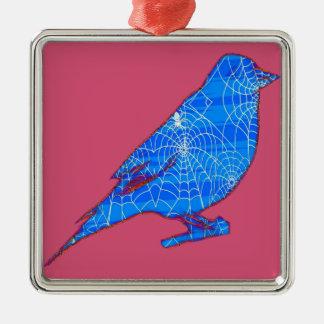 Blue Web Bird Christmas Ornament