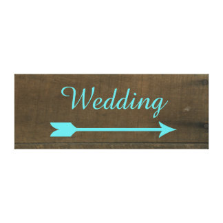 Blue Wedding Arrow Vintage Inspired Wooden Sign Gallery Wrapped Canvas