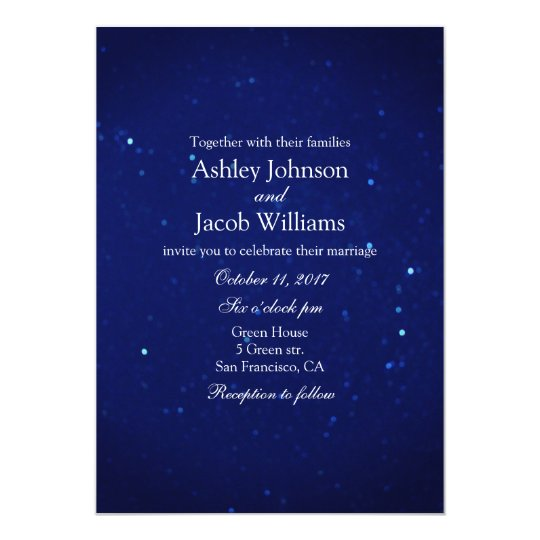 Blue wedding invitation. Navy night winter invite