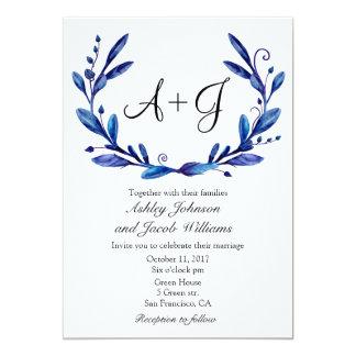 Blue wedding invitation. Winter botanical invites