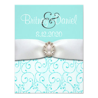 "Blue Wedding Invitations 4.25"" x 5.5"" 4.25"" X 5.5"" Invitation Card"
