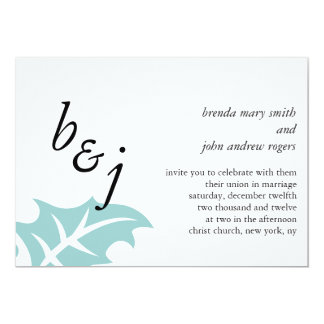 Blue Wedding Invitations Bride Groom Monograms