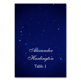 Blue wedding place card. Navy night winter seating Card