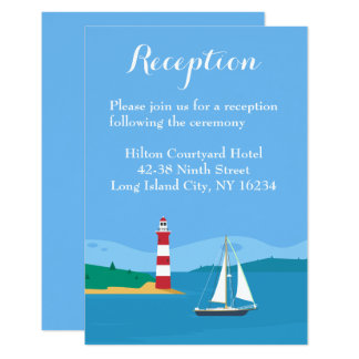 Blue Wedding Reception Lighthouse Sailboat Beach Card