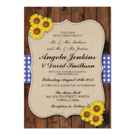 Blue Wedding Rustic Burlap Wood Flower Barn Invite