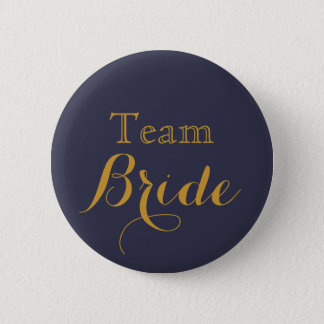 Blue Wedding Team Bride 6 Cm Round Badge