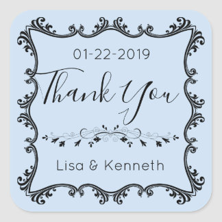 Blue wedding thank you stickers