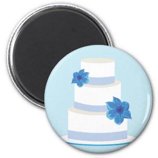 Blue Wedding Tier Cake Refrigerator Magnets