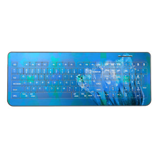 Blue wet Rose background Wireless Keyboard