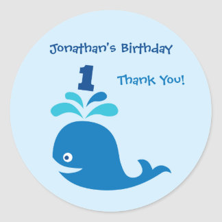 Blue Whale 1st Birthday Favor Sticker