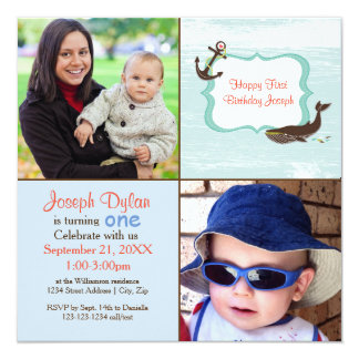 Blue Whale 2 Photo Kids - Birthday Invitation