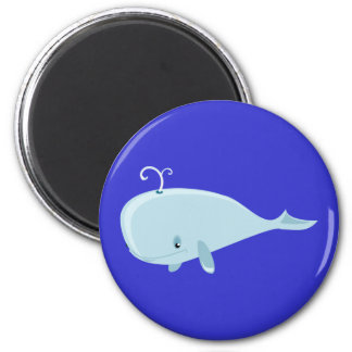 Blue Whale 6 Cm Round Magnet