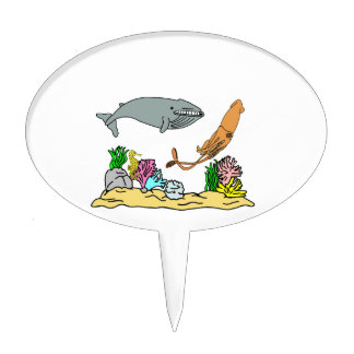 Blue Whale And Giant Squid Cake Picks