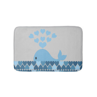 Blue Whale and hearts Bath Mat