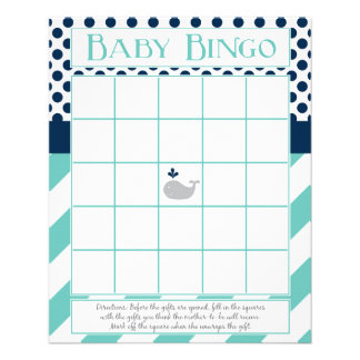 Blue Whale Baby Shower Bingo Flyer