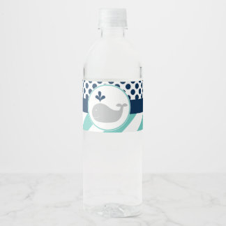 Blue Whale Baby Shower Water Bottle Labels