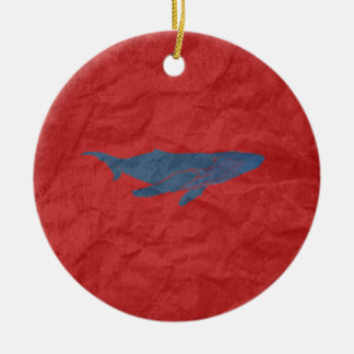 Blue Whale Christmas Ornament
