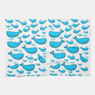blue whale kitchen hand towel