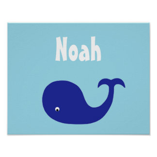 Blue whale nursery art poster