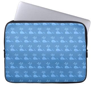 Blue Whale Pattern. Laptop Sleeve