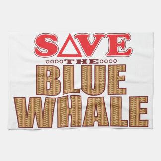 Blue Whale Save Tea Towel