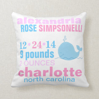 Blue Whale with Pink Zig Zag Birth Announcement Cushion
