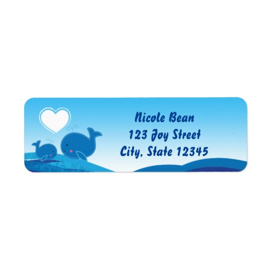 Blue Whales Baby Shower Invitation Address Labels