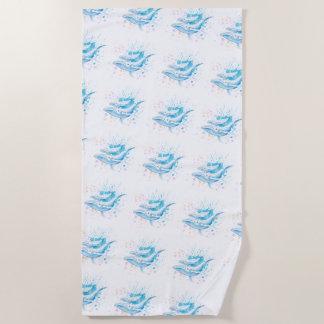 Blue Whales Color Splash Beach Towel