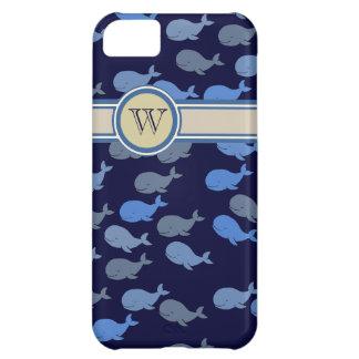 blue whales custom monogram iPhone 5C case