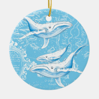 Blue Whales Family Christmas Ornament