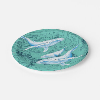Blue Whales Family Teal Paper Plate