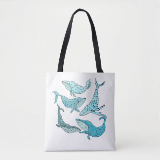Blue Whales Tote Bag