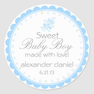 Blue Whimsical Baby Shower Stickers