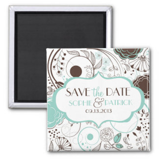 Blue Whimsical Flowers Save the Date Magnet