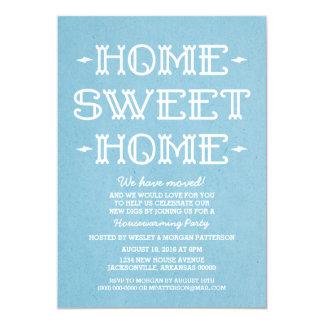 Blue Whimsical Sweet Home Housewarming Party 13 Cm X 18 Cm Invitation Card
